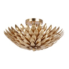 Crystorama Lighting Broche Antique Gold Semi-Flushmount Light