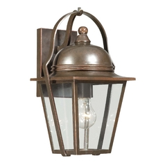 Outdoor Wall Light with Clear Glass in Architectural Bronze with Copper Highlights Finish