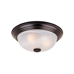 Flushmount Light with Alabaster Glass in Oil Rubbed Bronze Finish