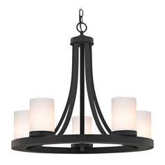 Bronze Chandelier with Gloss White Glass 5-Light