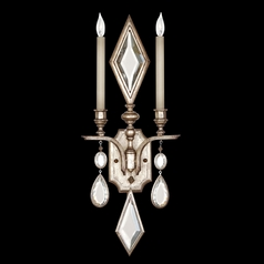 Fine Art Lamps Encased Gems Vintage Silver Leaf Sconce