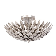 Crystorama Lighting Broche Antique Silver Semi-Flushmount Light