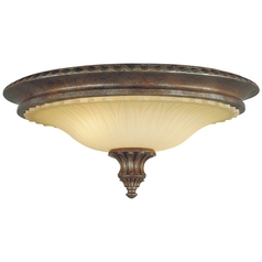 Flushmount Light with Beige / Cream Glass in British Bronze Finish