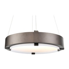 Kalco Halo Bronze LED Pendant Light with Drum Shade