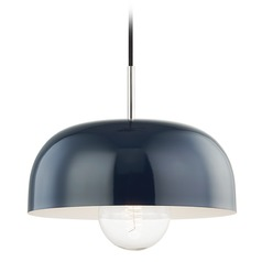 Mitzi Avery Polished Nickel / Navy Pendant Light with Bowl / Dome Shade