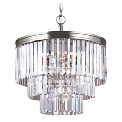 Sea Gull Lighting Carondelet Antique Brushed Nickel LED Pendant Light with Drum Shade