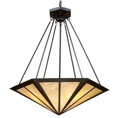 Pendant Light with Multi-Color Glass in Tiffany Bronze Finish