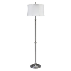 Floor Lamp with White Shade in Antique Silver Finish