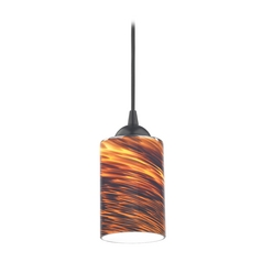 Design Classics Lighting Modern Mini-Pendant Light with Brown Art Glass 582-07 GL1023C