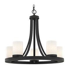 Bronze Chandelier with White Art Glass 5-Light