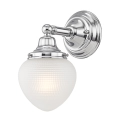 Prismatic Glass Schoolhouse Sconce Chrome 1 Light 5 Inch Width