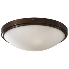 Modern Flushmount Light with White Glass in Heritage Bronze Finish