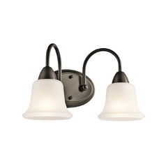 Kichler Lighting Kichler Bathroom Light with White Glass in Olde Bronze Finish 45882OZ