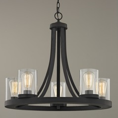 Industrial Chandelier with Clear Glass Bronze 5-Light