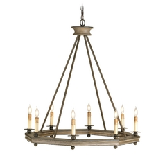 Modern Chandelier in Antique Rust/washed Wood Finish