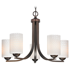 Bronze Chandelier with White Art Glass Shades and Five Lights