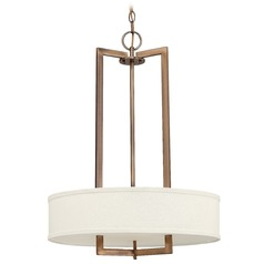 Drum Pendant Light with Beige / Cream Mica Shade in Antique Bronze