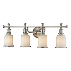 Elk Acadia Bathroom Wall Light with White Glass Shades