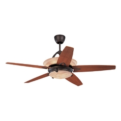 Ceiling Fan with Alabaster Glass Light Kit