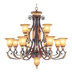Livex Lighting Villa Verona Bronze with Aged Gold Leaf Accents Chandeliers with Center Bowl
