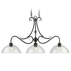 Golden Lighting Parrish Black Island Light with Bowl / Dome Shade