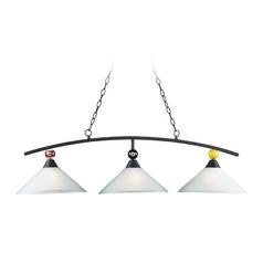Billiard Light with White Glass in Matte Black Finish