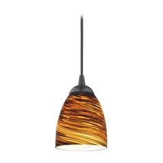 Design Classics Lighting Modern Mini-Pendant Light with Brown Art Glass 582-07 GL1023MB