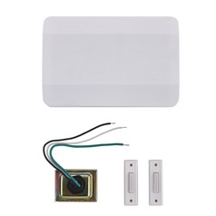 Doorbell Chime Kit with 2 White Doorbell Buttons and Transformer - 2 Notes