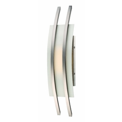 Modern LED Sconce Wall Light with White Glass in Brush Nickel Finish