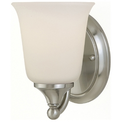 Sconce Wall Light with White Glass in Brushed Steel Finish