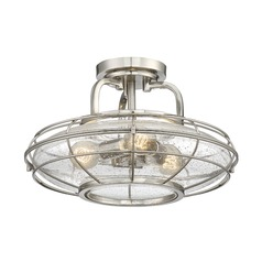 Seeded Glass Semi-Flushmount Light Satin Nickel Savoy House