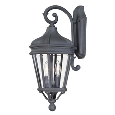 Minka Lighting Outdoor Wall Light with Clear Glass in Black Finish 8691-66