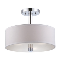 Modern Semi-Flushmount Light with White Shades in Chrome Finish