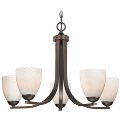 Contemporary Bronze Chandelier with White Art Glass Bell Shades