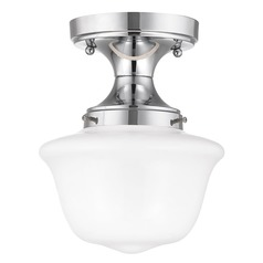 8-Inch Wide Chrome Retro Schoolhouse Ceiling Light