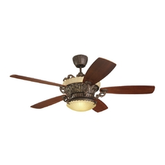 Ceiling Fan with Light in Bronze / Tea Stain Mission Finish