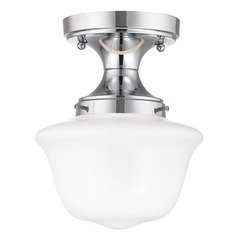 8-Inch Wide Chrome Schoolhouse Ceiling Light