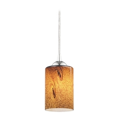 Design Classics Lighting Modern Mini-Pendant Light with Brown Art Glass 582-26 GL1001C
