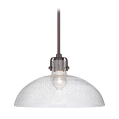 Modern Pendant Light with Clear Glass in Dark Brushed Bronze Finish