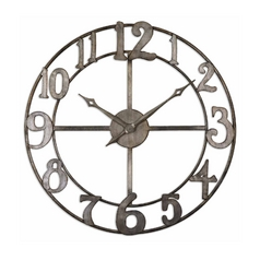 Clock in Antique Silver Finish