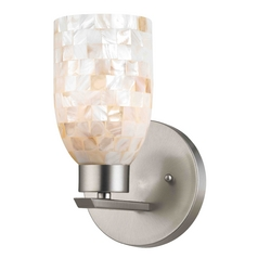 Sconce Wall Light with Beige / Cream Glass in Satin Nickel Finish
