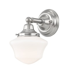 Schoolhouse Sconce Satin Nickel White Opal Glass 1 Light 6 Inch Width