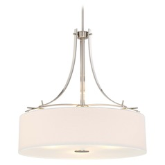 Minka Poleis Brushed Nickel Pendant Light with Drum Shade