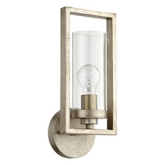 Seeded Glass Sconce Silver Quorum Lighting