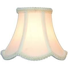 White Scalloped Lamp Shade with Clip-On Assembly