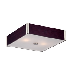 Modern Flushmount Light with White in Polished Steel / Dark Walnut Finish