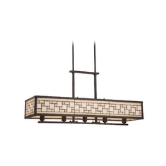 Quoizel Lighting Pendant Light with Multi-Colored Glass in Western Bronze Finish TFSC538WT