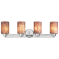 Modern Bathroom Light with Brown Art Glass in Chrome Finish