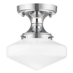 8-Inch Wide Schoolhouse Ceiling Light in Chrome Finish