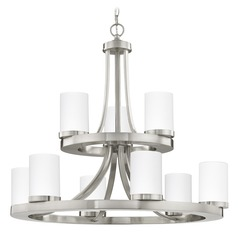 Satin Nickel Chandelier with White Glass 9-Lt 2-Tier